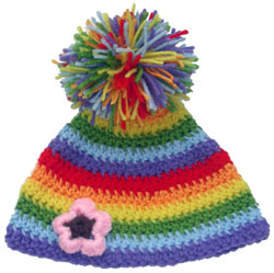 crochet rainbow hat