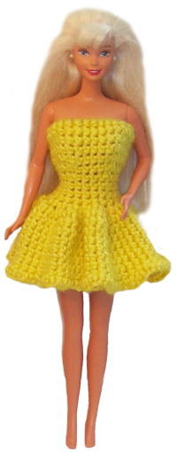 crochet barbie doll ruffle dress