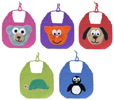 crochet animal baby bibs