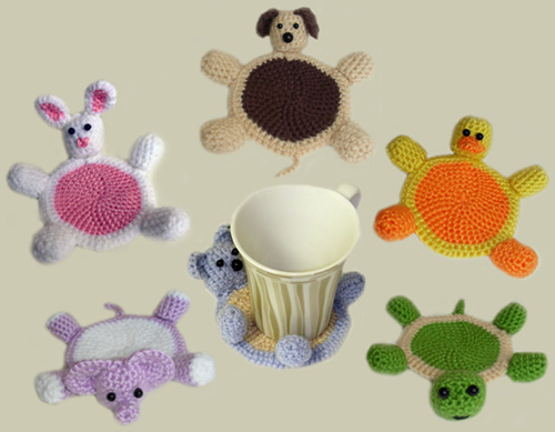 crochet amigurumi animal coasters
