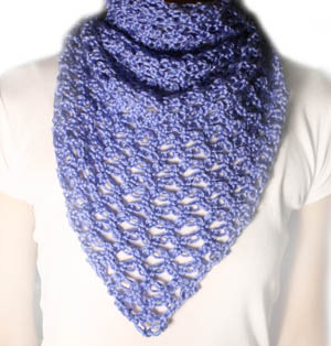 crochet love knot triangle scarf