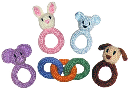 crochet baby ring and rattle toys