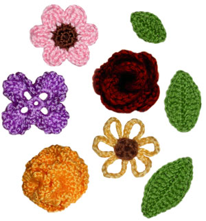 PATTERN – Crocheted Rose Flower with Leaves — Flower 22