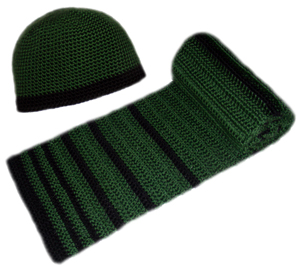 Crochet Pattern: Men's Striped Hat and Scarf