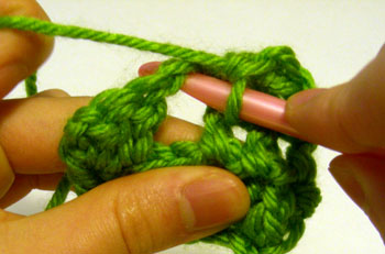 crocheting into chain space