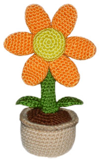 crochet potted flower
