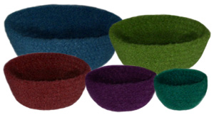 crochet felted bowl set