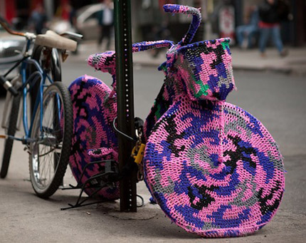 crochet bicycle cozy