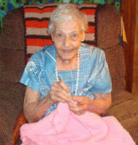 Mary Friese crocheting at 100