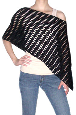crochet striped asymetrical poncho