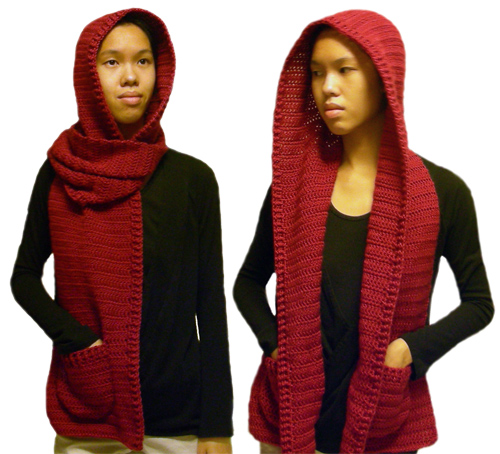 Crochet Pattern For Scarf Hood : Crochet Hooded Scarf Pattern with Pockets
