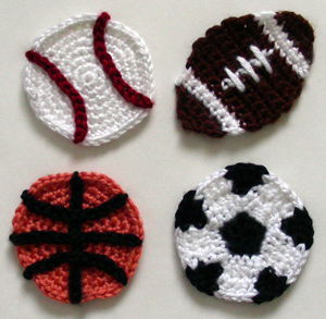crocheted football applique pattern appliq patterns. Black Bedroom Furniture Sets. Home Design Ideas