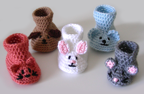 Crochet Spot » Blog Archive » Crochet Pattern: Animal Baby Booties ...