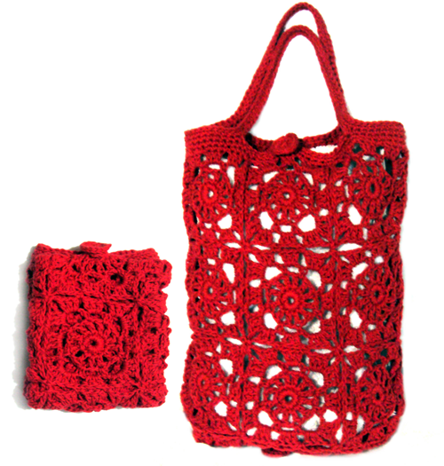 crochet bags crochet purses crocheted foldable market bag net bag ...