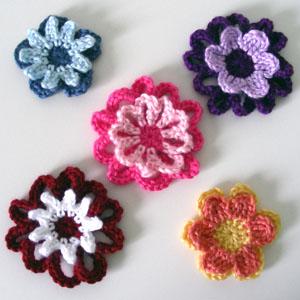 Free Crochet Double Flower Pattern : Double Layer Crochet Flower Pattern