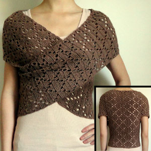 crochet diamond eyelet wrap sweater