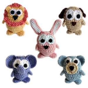 Crochet Patterns Of Animals : ... Crochet Pattern: 5 Animal Drawstring Bags - Crochet Patterns