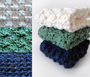 crochet sampler washcloth set
