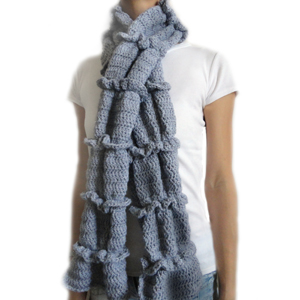crochet ruched ruffle scarf