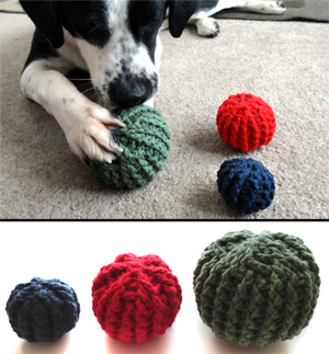 crochet textured dog toy balls
