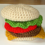 crochet hamburger coasters
