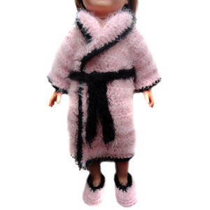 crochet doll bathrobe with slippers