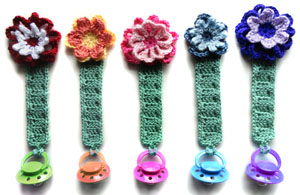 crochet pacifier holder with flowers