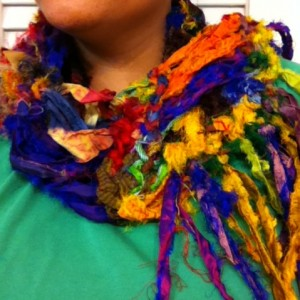 Me wearing my sari silk scarf with fringe!