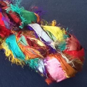 A skein of recycled sari silk