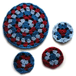 crochet round granny coaster and trivet