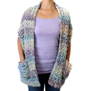 crochet cozy shawl wrap with pockets