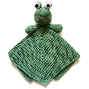crochet frog security blanket