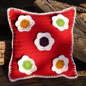 crochet totally rad flower pillow