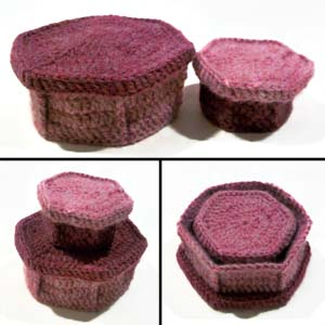 crochet hexagonal nesting boxes