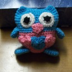 Ann's lovable owl looks great in blue and pink.