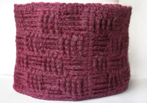 crochet tunisian checkerboard neckwarmer