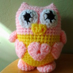 Here is Shirley's lovable owl in pink and yellow.
