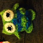 Here is Yvette's second owl in green and blue.