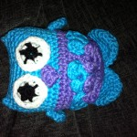 This is Yvette's first owl in blue and purple.