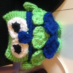 Here's Kim's owl in Super Bowl Seahawk colors.