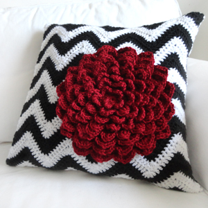 crochet chevron flower pillow cover