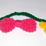 Bonnie crocheted a bow and a bookmark.
