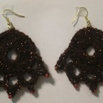 Lillie crocheted the Cora earrings in black.