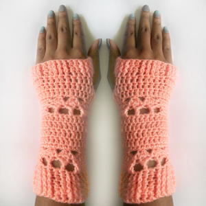 crochet little arbor fingerless gloves