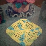 Emma also made a dishcloth with Sugar n Cream yarn.