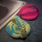 Emma crocheted two cute scrubbies.