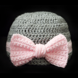 crochet big bow beanie