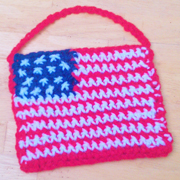 Emma turned the flag pattern into a bag.