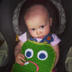 Baby loves her crochet bib & Mom can machine wash it!