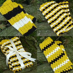 crochet bumblebee dishtowel set